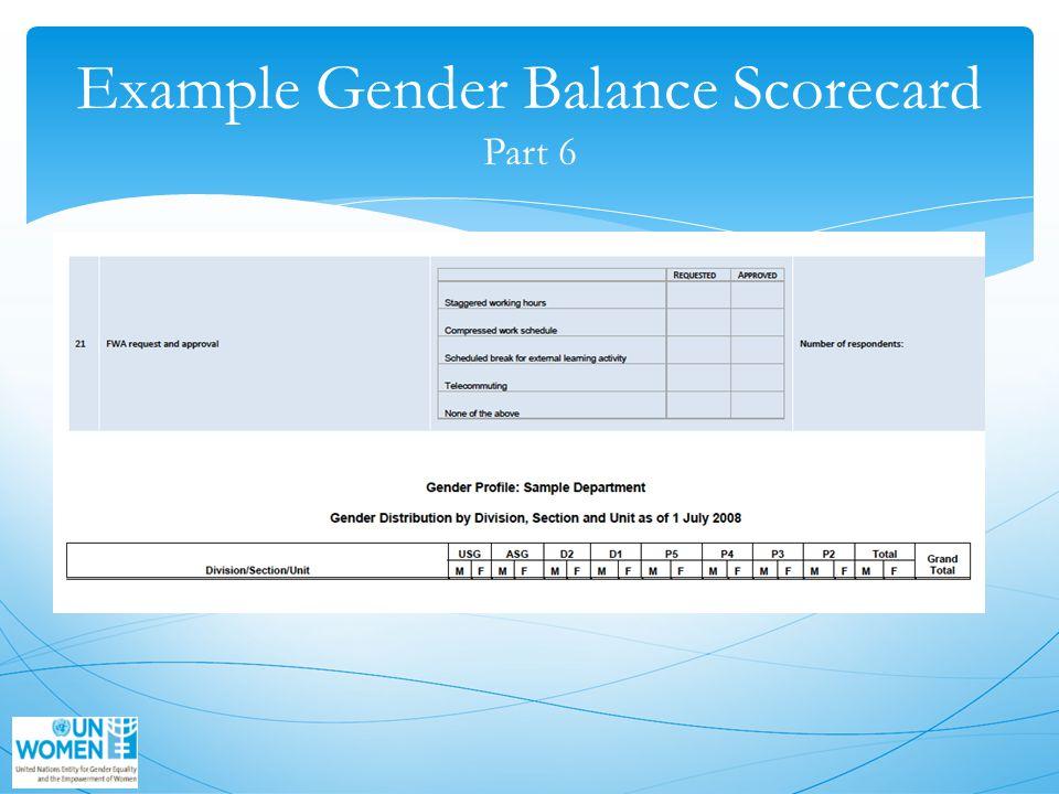 Example Gender Balance Scorecard Part 6