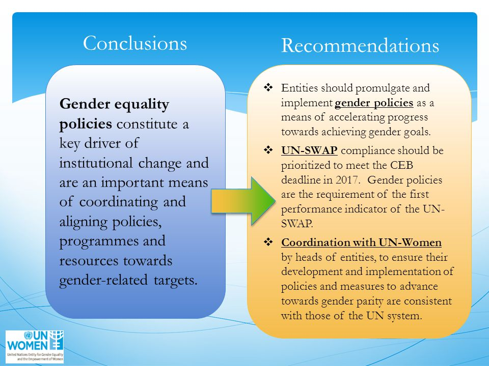 Gender equality policies constitute a key driver of institutional change and are an important means of coordinating and aligning policies, programmes and resources towards gender-related targets.
