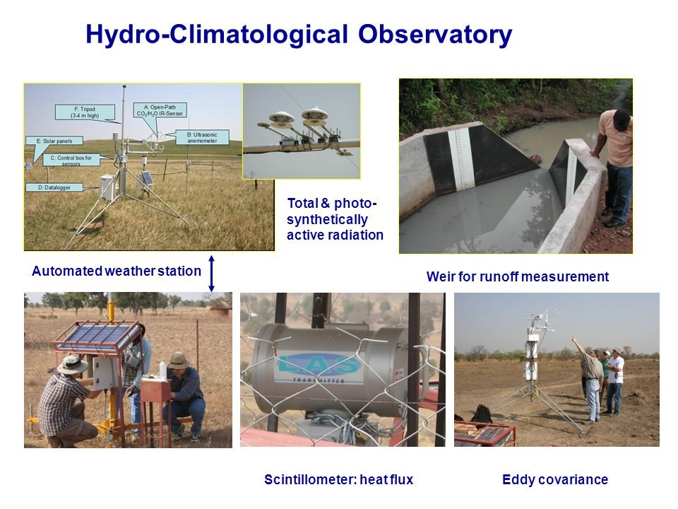 Weir for runoff measurement Automated weather station Total & photo- synthetically active radiation Scintillometer: heat flux Eddy covariance Hydro-Climatological Observatory