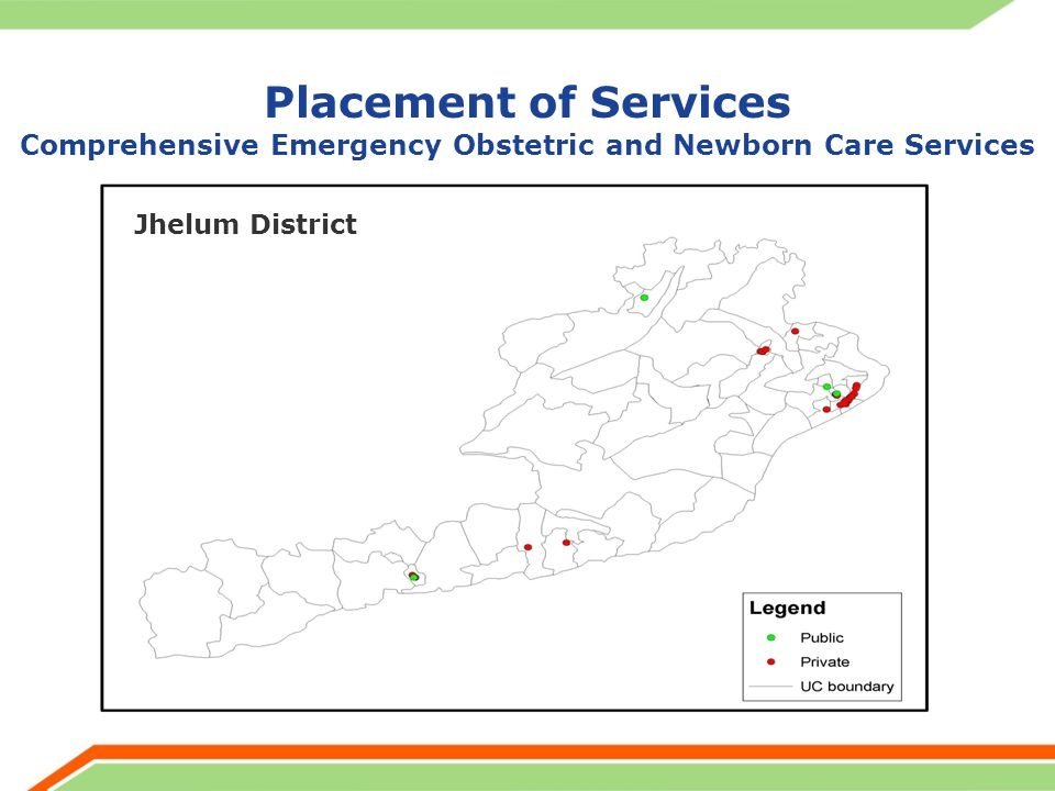 Placement of Services Comprehensive Emergency Obstetric and Newborn Care Services