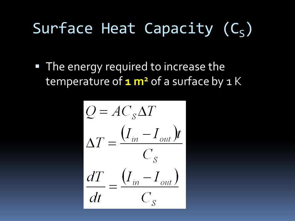 Surface Heat Capacity (C S )  The energy required to increase the temperature of 1 m 2 of a surface by 1 K