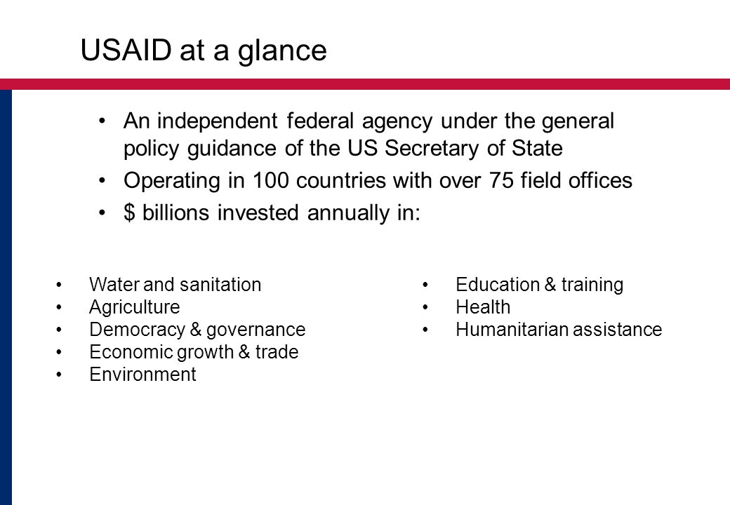 USAID at a glance An independent federal agency under the general policy guidance of the US Secretary of State Operating in 100 countries with over 75