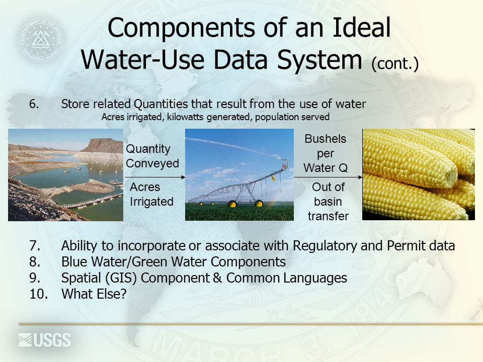 Components of an Ideal Water-Use Data System (cont.) 6.Store related Quantities that result from the use of water Acres irrigated, kilowatts generated, population served 7.Ability to incorporate or associate with Regulatory and Permit data 8.Blue Water/Green Water Components 9.Spatial (GIS) Component & Common Languages 10.What Else.