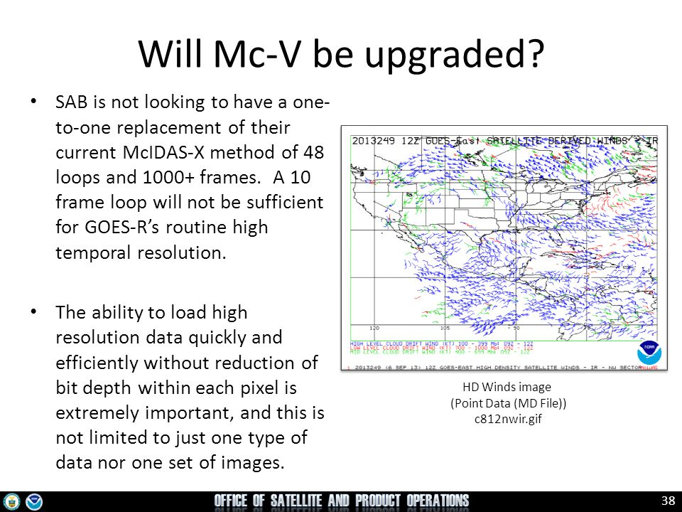 38 SAB is not looking to have a one- to-one replacement of their current McIDAS-X method of 48 loops and 1000+ frames. A 10 frame loop will not be suf