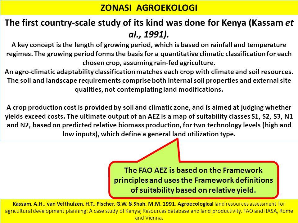 Kassam, A.H., van Velthuizen, H.T., Fischer, G.W. & Shah, M.M. 1991. Agroecological land resources assessment for agricultural development planning: A