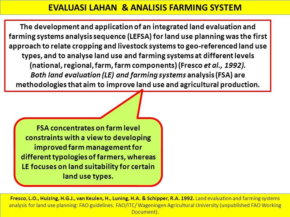 EVALUASI LAHAN & ANALISIS FARMING SYSTEM Fresco, L.O., Huizing, H.G.J., van Keulen, H., Luning, H.A. & Schipper, R.A. 1992. Land evaluation and farmin