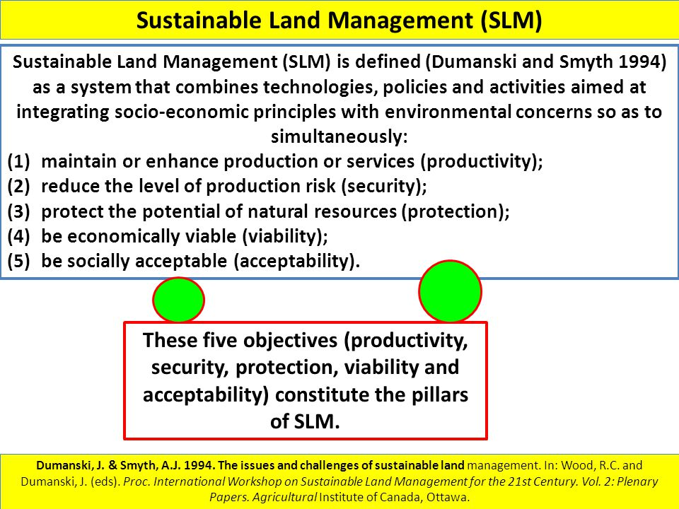 Sustainable Land Management (SLM) Dumanski, J. & Smyth, A.J. 1994. The issues and challenges of sustainable land management. In: Wood, R.C. and Dumans