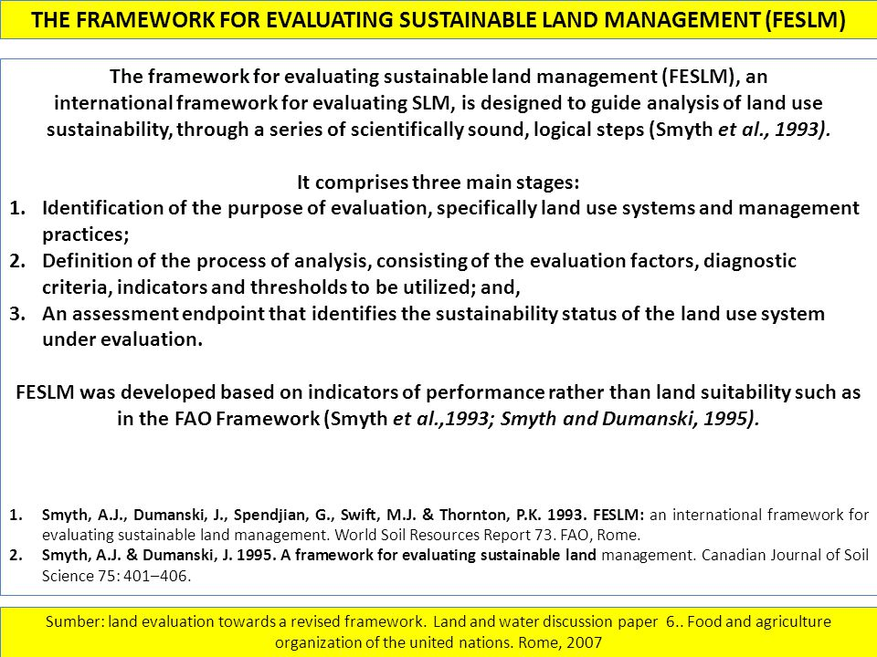 THE FRAMEWORK FOR EVALUATING SUSTAINABLE LAND MANAGEMENT (FESLM) Sumber: land evaluation towards a revised framework. Land and water discussion paper
