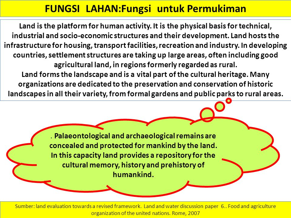 FUNGSI LAHAN:Fungsi untuk Permukiman Land is the platform for human activity. It is the physical basis for technical, industrial and socio-economic st