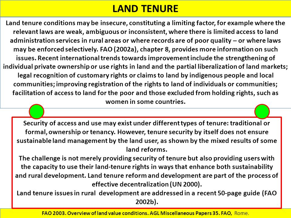 LAND TENURE Land tenure conditions may be insecure, constituting a limiting factor, for example where the relevant laws are weak, ambiguous or inconsi
