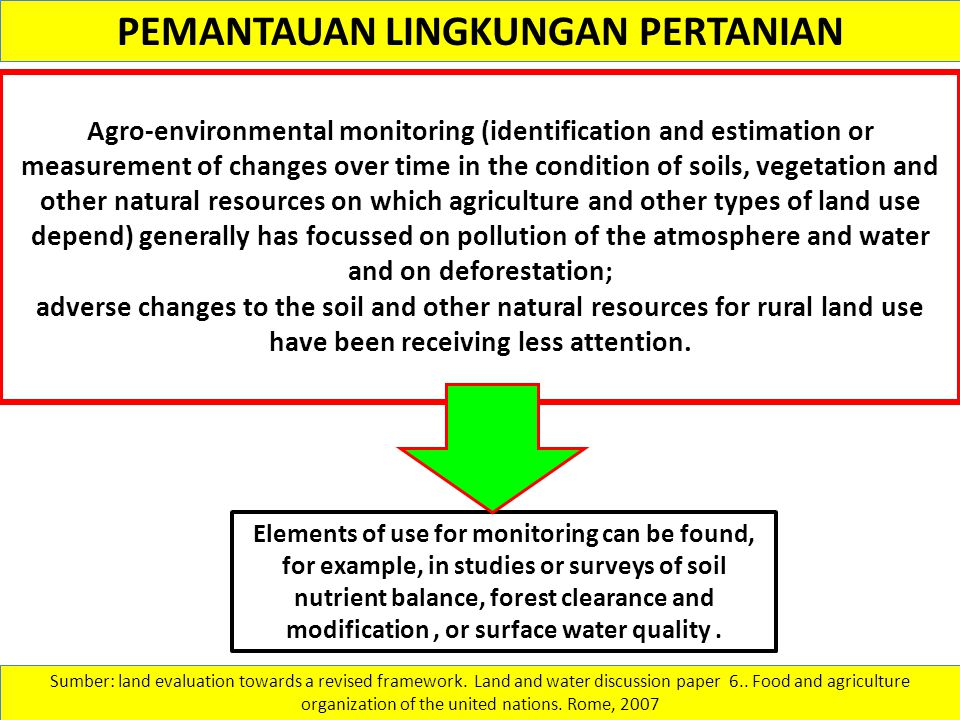 PEMANTAUAN LINGKUNGAN PERTANIAN Agro-environmental monitoring (identification and estimation or measurement of changes over time in the condition of s