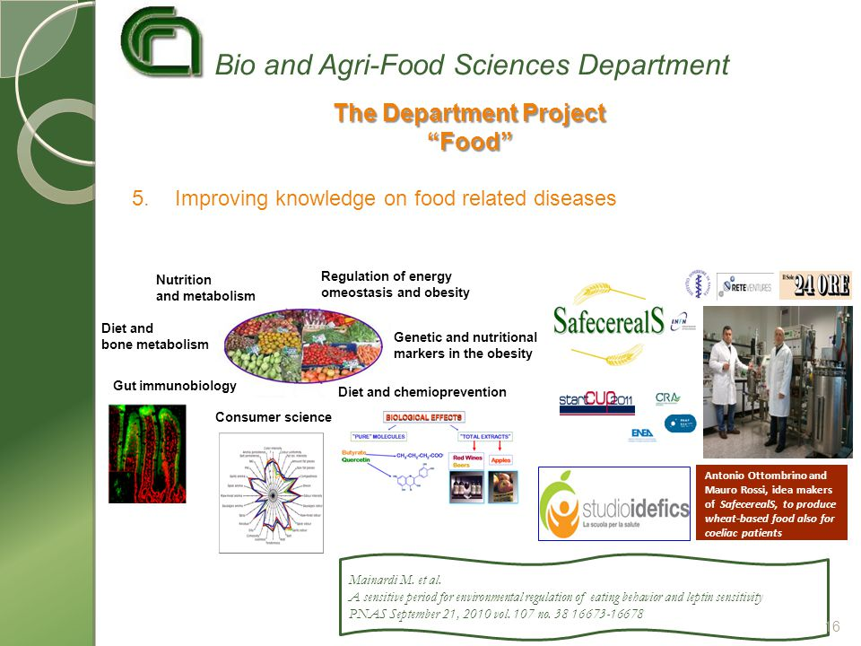 5.Improving knowledge on food related diseases Nutrition and metabolism Gut immunobiology Diet and bone metabolism Diet and chemioprevention Regulation of energy omeostasis and obesity Genetic and nutritional markers in the obesity Consumer science Antonio Ottombrino and Mauro Rossi, idea makers of SafecerealS, to produce wheat-based food also for coeliac patients The Department Project Food Bio and Agri-Food Sciences Department Mainardi M.