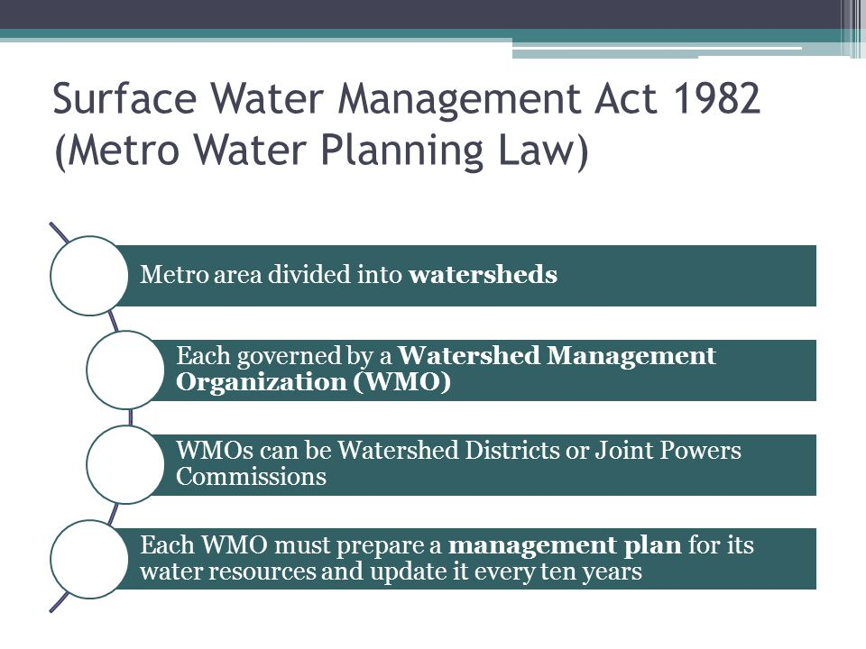 Surface Water Management Act 1982 (Metro Water Planning Law) Metro area divided into watersheds Each governed by a Watershed Management Organization (WMO) WMOs can be Watershed Districts or Joint Powers Commissions Each WMO must prepare a management plan for its water resources and update it every ten years