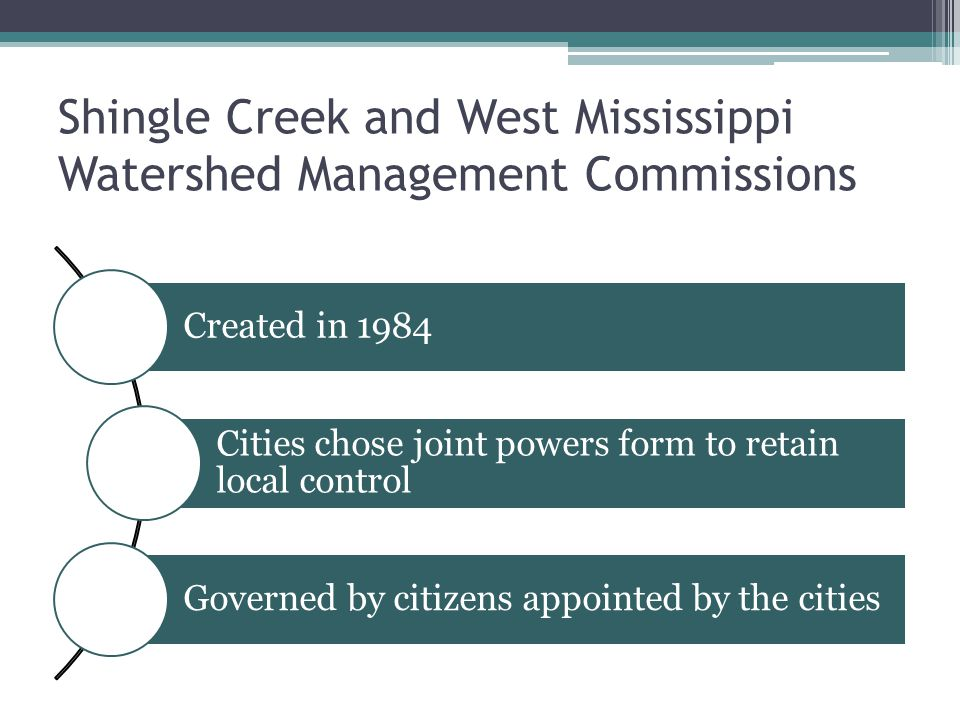 Shingle Creek and West Mississippi Watershed Management Commissions Created in 1984 Cities chose joint powers form to retain local control Governed by citizens appointed by the cities
