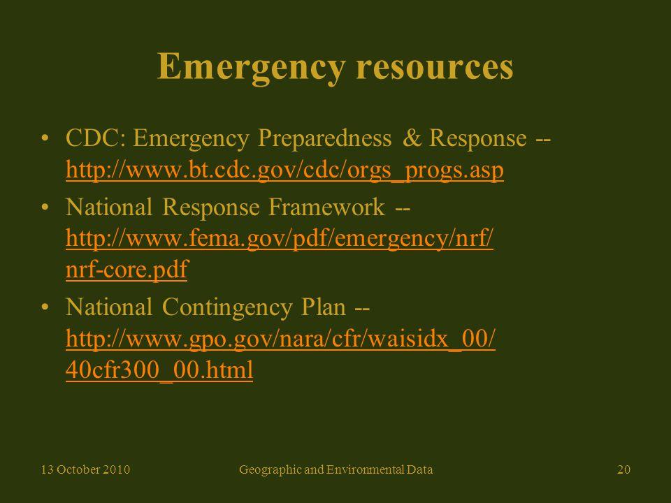 Emergency resources CDC: Emergency Preparedness & Response -- http://www.bt.cdc.gov/cdc/orgs_progs.asp http://www.bt.cdc.gov/cdc/orgs_progs.asp Nation