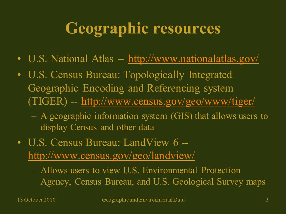 Geographic resources U.S.