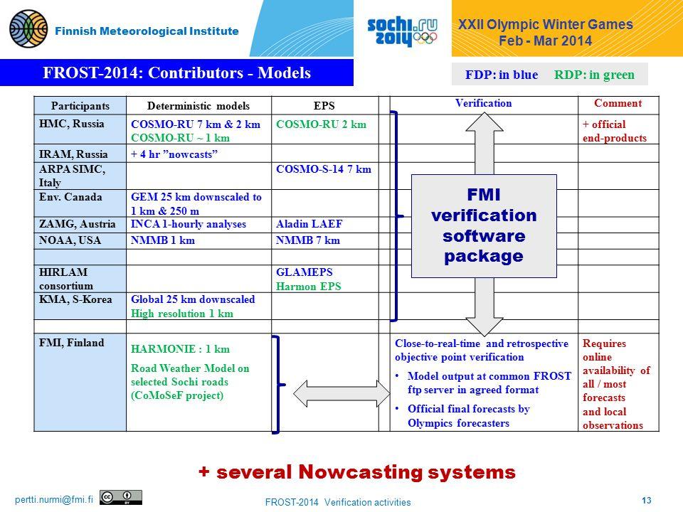 13 FROST-2014 Verification activities pertti.nurmi@fmi.fi Finnish Meteorological Institute ParticipantsDeterministic modelsEPS VerificationComment HMC, RussiaCOSMO-RU 7 km & 2 km COSMO-RU ~ 1 km COSMO-RU 2 km + official end-products IRAM, Russia+ 4 hr nowcasts ARPA SIMC, Italy COSMO-S-14 7 km Env.
