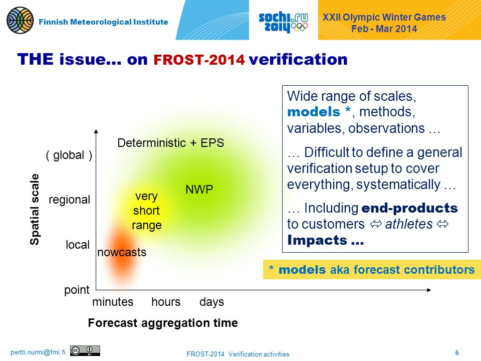 6 FROST-2014 Verification activities pertti.nurmi@fmi.fi Finnish Meteorological Institute THE issue… on FROST-2014 verification local point regional ( global ) Spatial scale Forecast aggregation time minuteshoursdays NWP nowcasts very short range Deterministic + EPS Wide range of scales, models *, methods, variables, observations … … Difficult to define a general verification setup to cover everything, systematically … … Including end-products to customers  athletes  Impacts … XXII Olympic Winter Games Feb - Mar 2014 Finnish Meteorological Institute * models aka forecast contributors