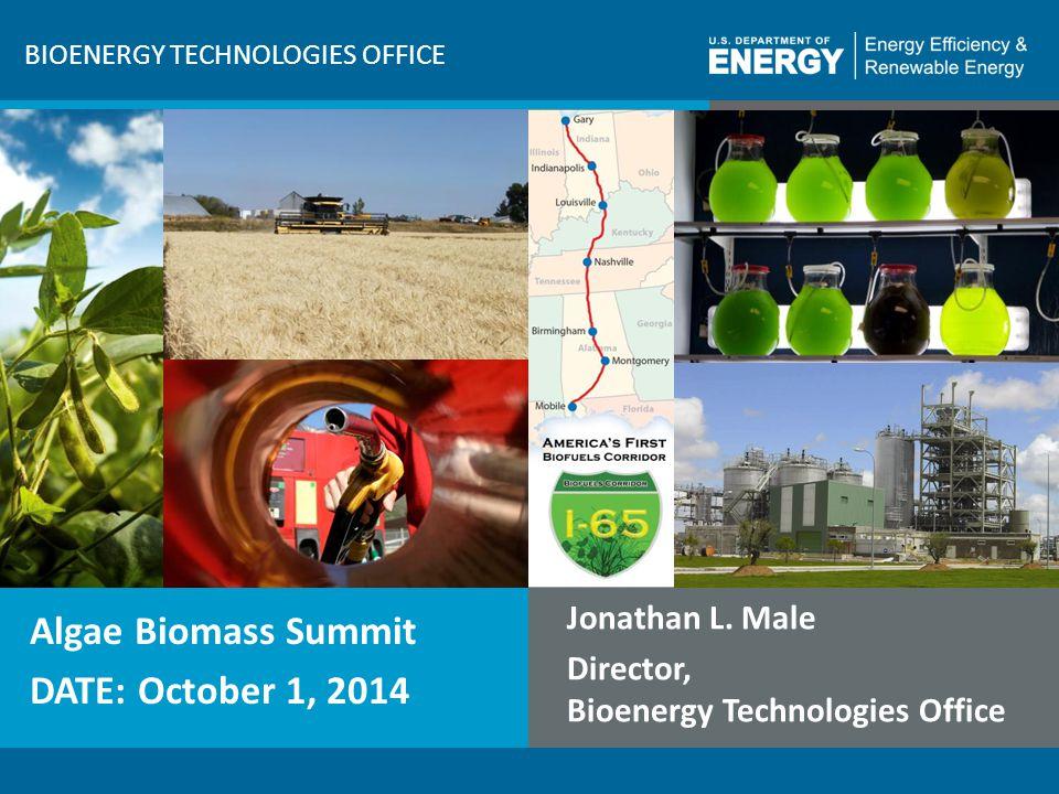 1 | Bioenergy Technologies Office BIOENERGY TECHNOLOGIES OFFICE Algae Biomass Summit DATE: October 1, 2014 Jonathan L. Male Director, Bioenergy Techno