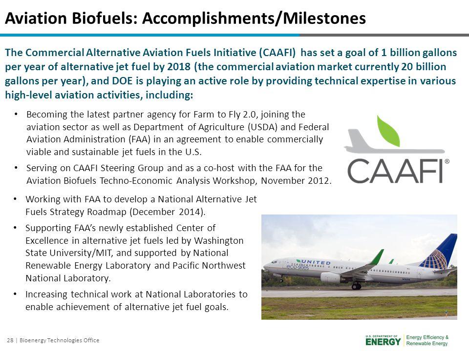 28 | Bioenergy Technologies Office Aviation Biofuels: Accomplishments/Milestones The Commercial Alternative Aviation Fuels Initiative (CAAFI) has set