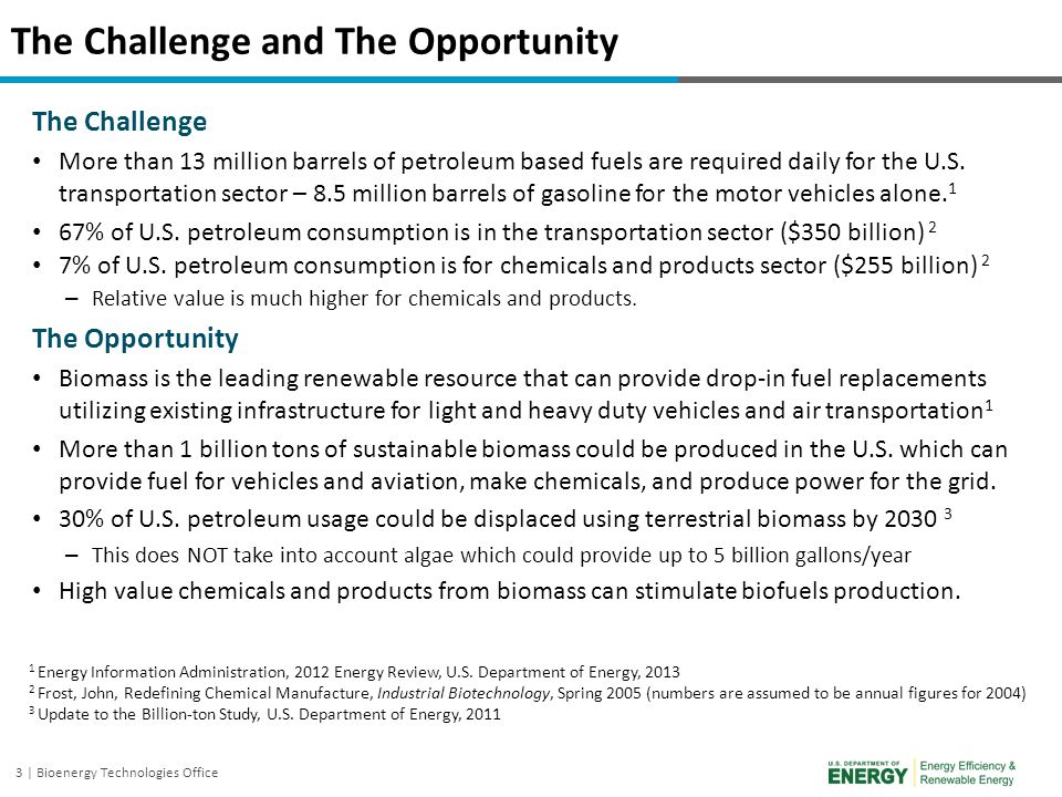 3 | Bioenergy Technologies Office The Challenge and The Opportunity The Challenge More than 13 million barrels of petroleum based fuels are required d