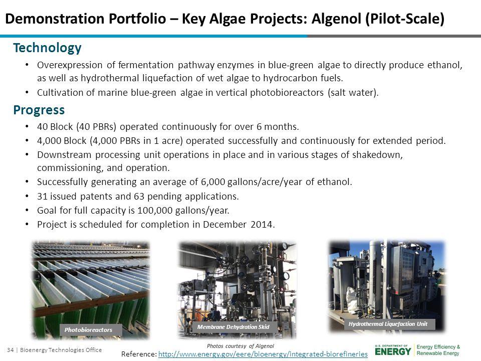 34 | Bioenergy Technologies Office Demonstration Portfolio – Key Algae Projects: Algenol (Pilot-Scale) Photos courtesy of Algenol Technology Overexpre