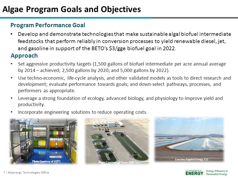 8 | Bioenergy Technologies Office Program Approach: Integrated Research and Development To achieve program goals, the Algae Program funds research and development across technology readiness levels (TRL 2-6) within a broad portfolio of disciplines across the production and logistics chain, while interfacing with the Conversion, and Demonstration and Market Transformation Programs.