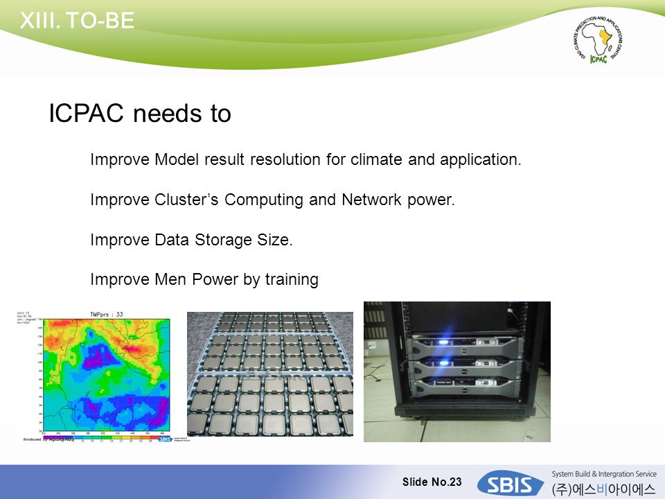Slide No.23 XIII. TO-BE Improve Model result resolution for climate and application. Improve Cluster's Computing and Network power. Improve Data Stora