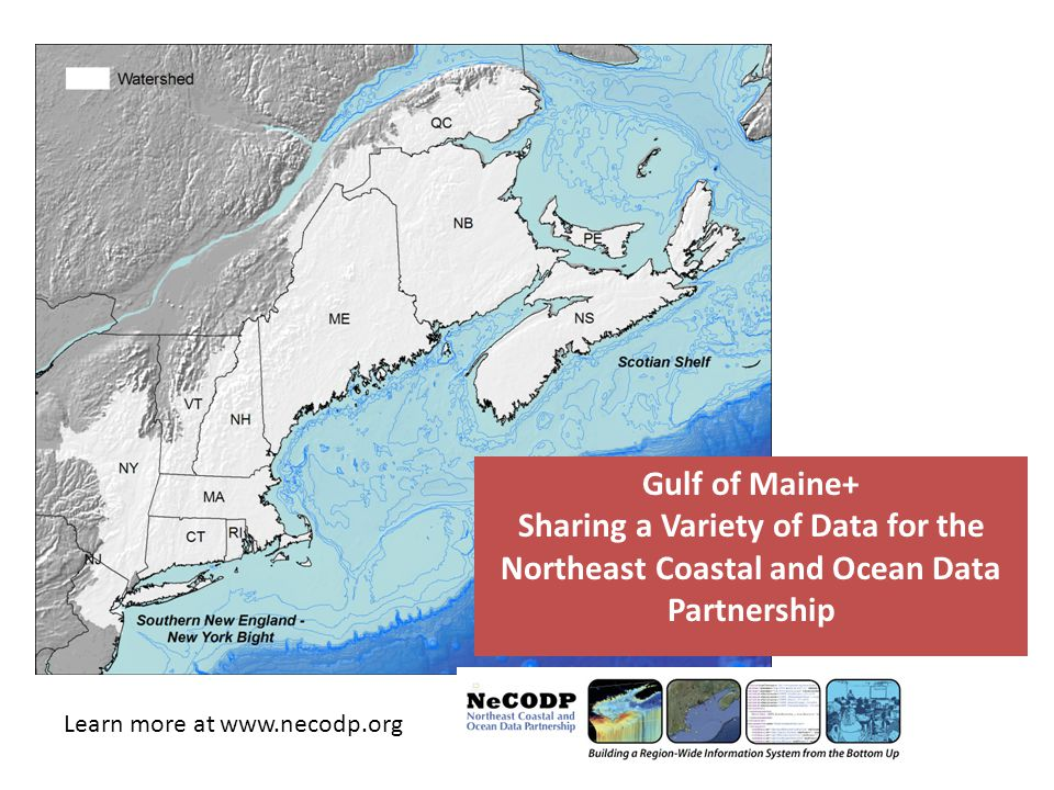 Gulf of Maine+ Sharing a Variety of Data for the Northeast Coastal and Ocean Data Partnership Learn more at www.necodp.org