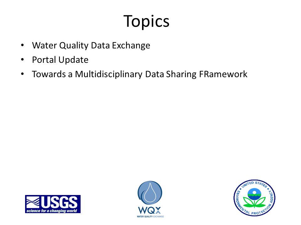 Topics Water Quality Data Exchange Portal Update Towards a Multidisciplinary Data Sharing FRamework