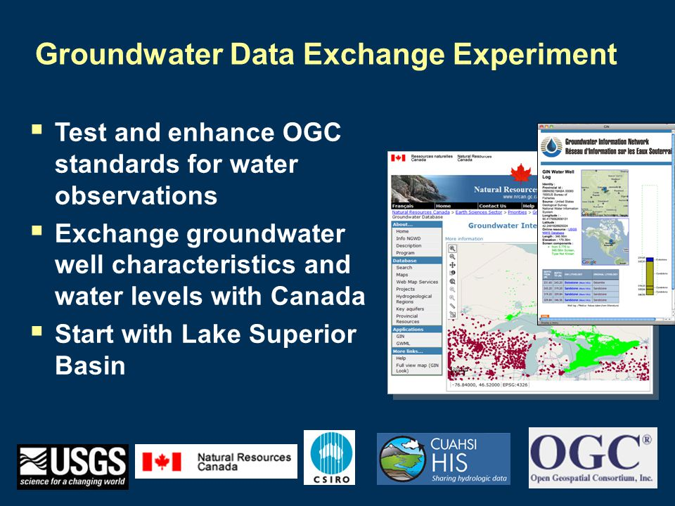 Groundwater Data Exchange Experiment  Test and enhance OGC standards for water observations  Exchange groundwater well characteristics and water levels with Canada  Start with Lake Superior Basin