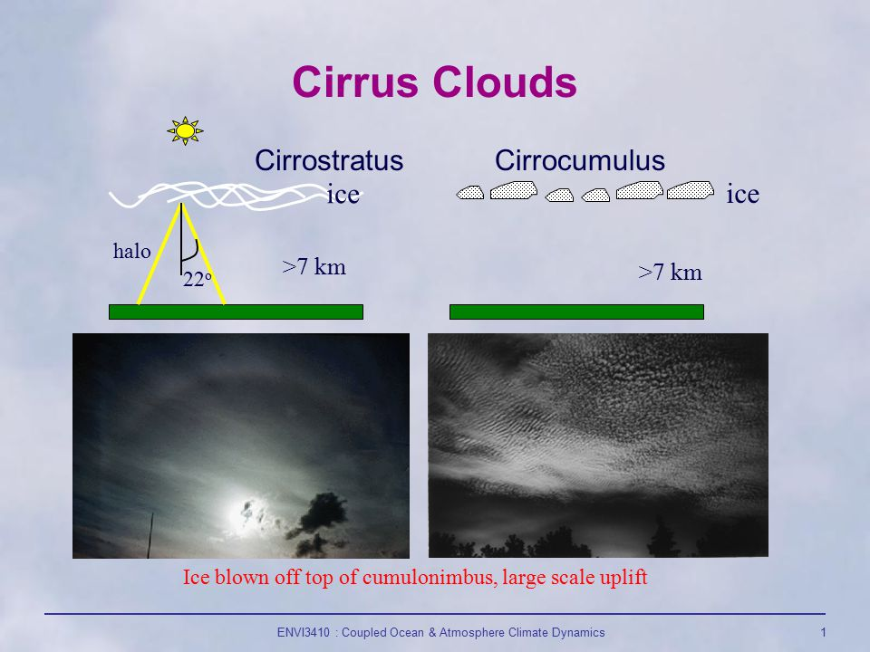 ENVI3410 : Coupled Ocean & Atmosphere Climate Dynamics1 Cirrus Clouds CirrostratusCirrocumulus >7 km 22 o halo ice Ice blown off top of cumulonimbus, large scale uplift