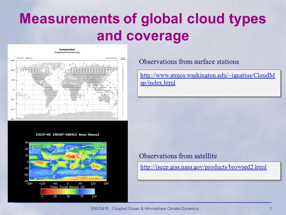 ENVI3410 : Coupled Ocean & Atmosphere Climate Dynamics1 Measurements of global cloud types and coverage http://www.atmos.washington.edu/~ignatius/CloudM ap/index.html http://www.atmos.washington.edu/~ignatius/CloudM ap/index.html Observations from surface stations Observations from satellite http://isccp.giss.nasa.gov/products/browsed2.html