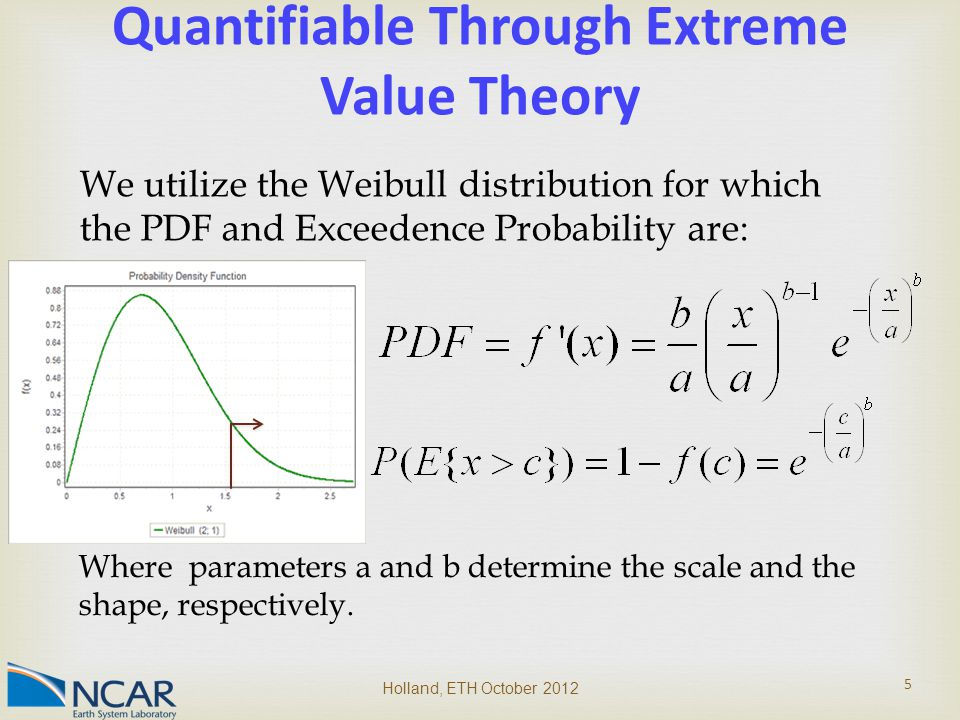 Quantifiable Through Extreme Value Theory We utilize the Weibull distribution for which the PDF and Exceedence Probability are: Where parameters a and b determine the scale and the shape, respectively.
