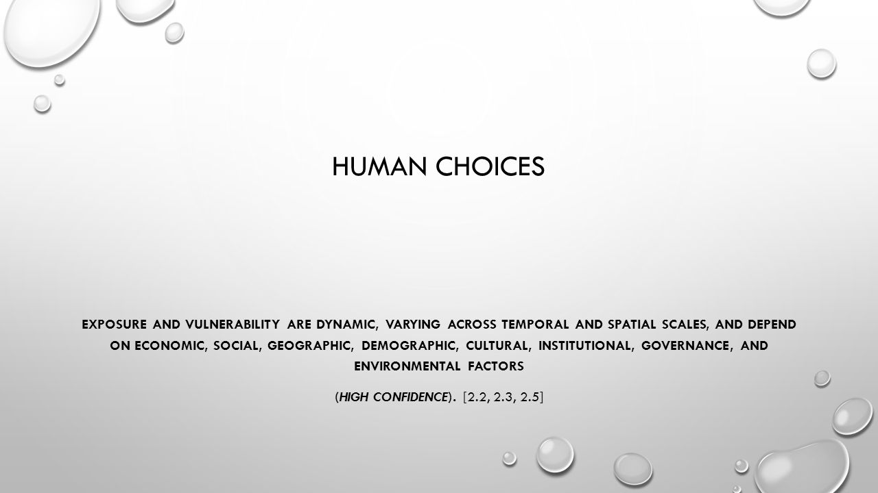HUMAN CHOICES EXPOSURE AND VULNERABILITY ARE DYNAMIC, VARYING ACROSS TEMPORAL AND SPATIAL SCALES, AND DEPEND ON ECONOMIC, SOCIAL, GEOGRAPHIC, DEMOGRAP