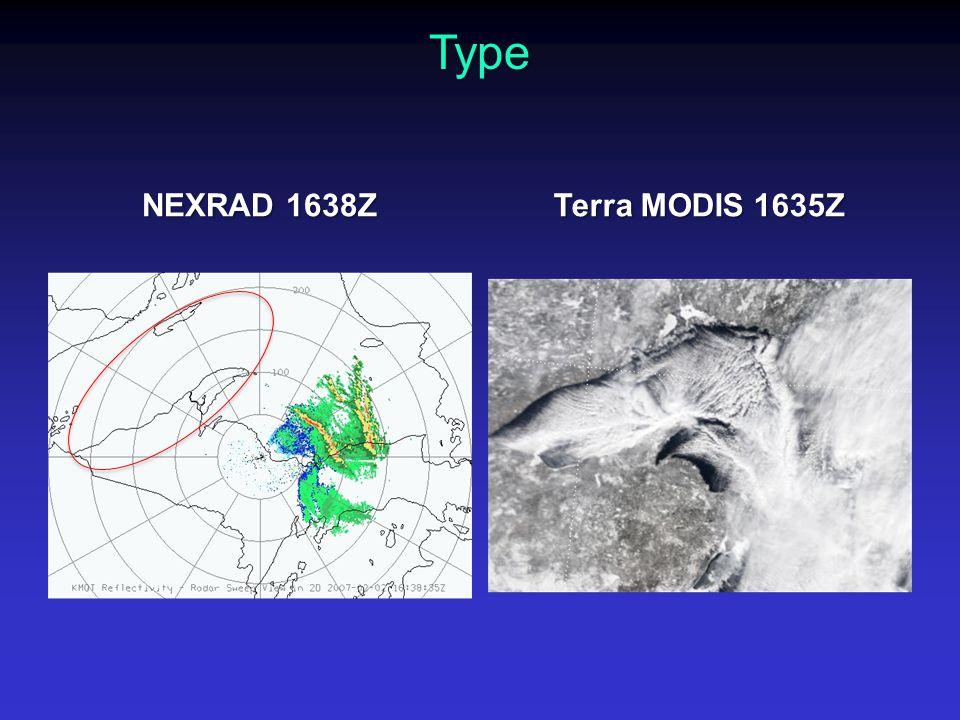 NEXRAD 1638Z Terra MODIS 1635Z Type