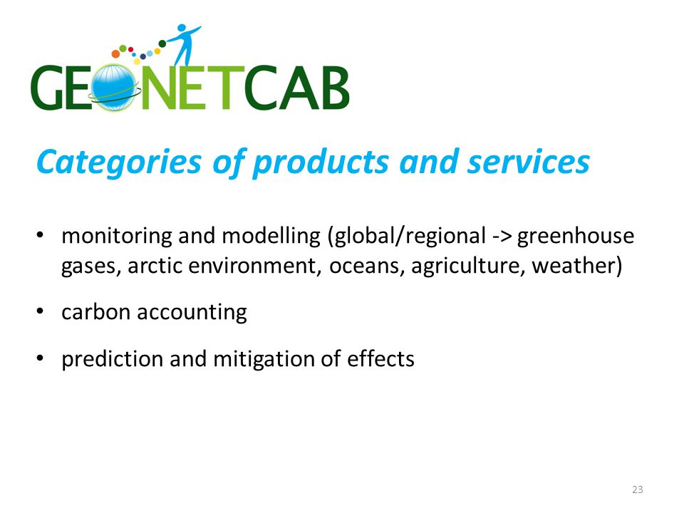 Categories of products and services monitoring and modelling (global/regional -> greenhouse gases, arctic environment, oceans, agriculture, weather) carbon accounting prediction and mitigation of effects 23