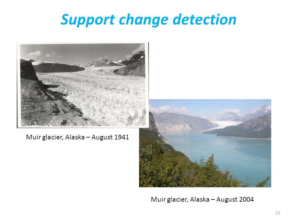 32 Support change detection Muir glacier, Alaska – August 1941 Muir glacier, Alaska – August 2004
