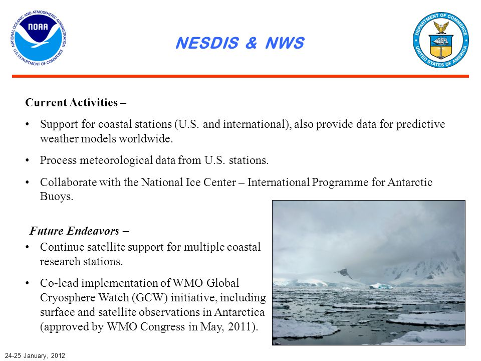 NESDIS & NWS 24-25 January, 2012 Current Activities – Support for coastal stations (U.S. and international), also provide data for predictive weather