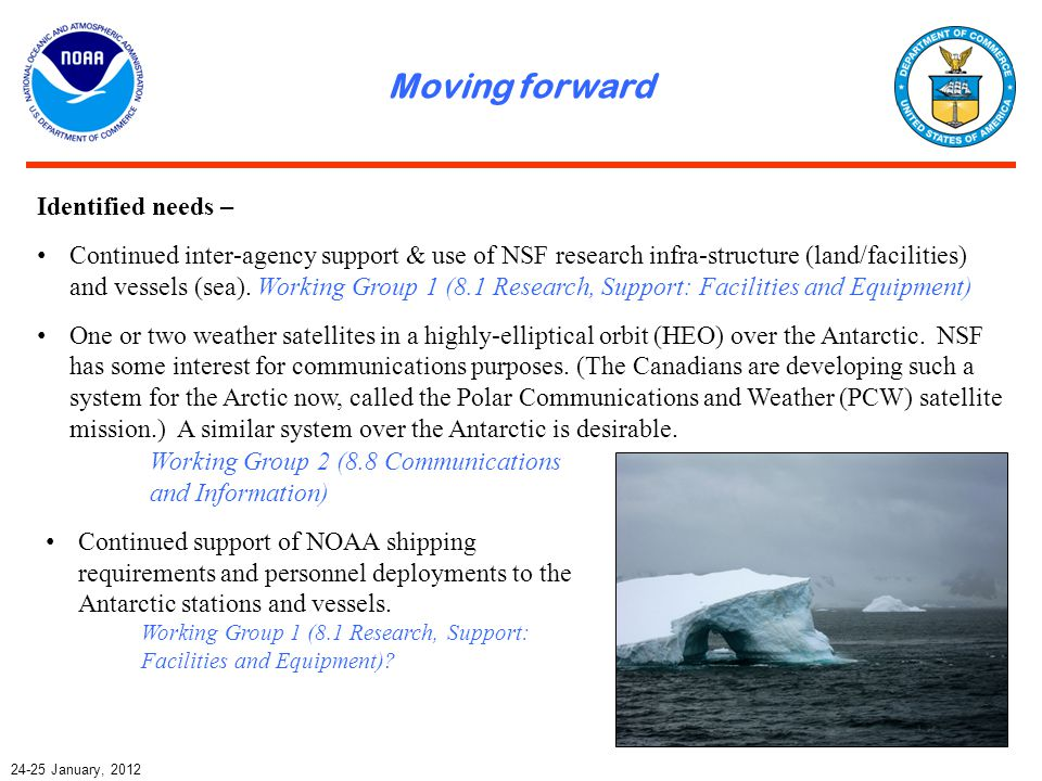 Moving forward 24-25 January, 2012 Identified needs – Continued inter-agency support & use of NSF research infra-structure (land/facilities) and vesse