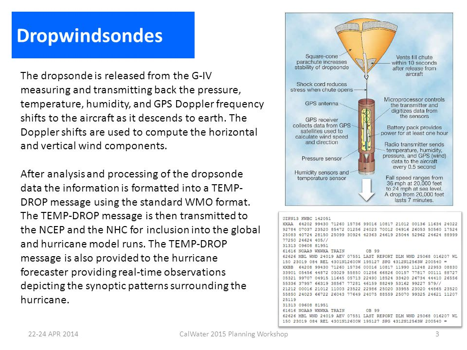 AVAPS Airborne Vertical Atmosphere Profiling System Operated by one person Can receive & process data from 4 dropsondes at the same time Simple Graphical User Interface (GUI) Outputs real time PTH and wind spd/dir for each channel as sondes are descending 4CalWater 2015 Planning Workshop22-24 APR 2014