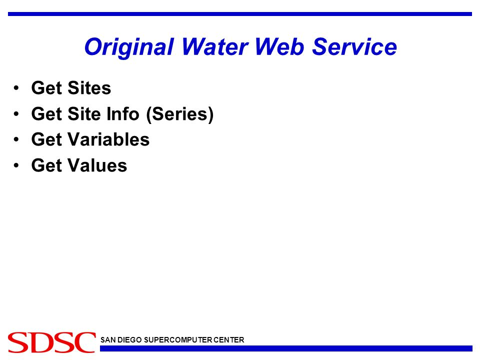 SAN DIEGO SUPERCOMPUTER CENTER Original Water Web Service Get Sites Get Site Info (Series) Get Variables Get Values