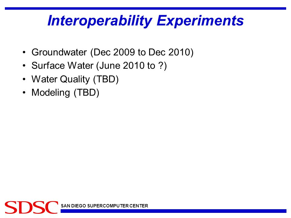 SAN DIEGO SUPERCOMPUTER CENTER Interoperability Experiments Groundwater (Dec 2009 to Dec 2010) Surface Water (June 2010 to ) Water Quality (TBD) Modeling (TBD)