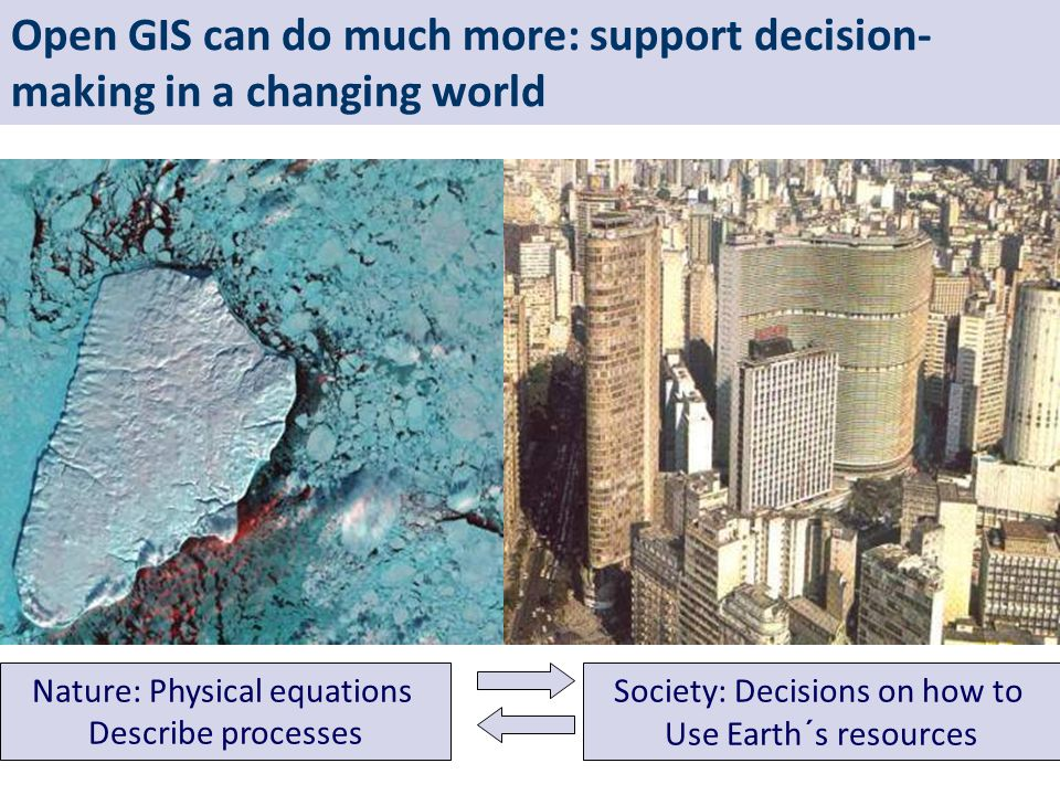 Open GIS can do much more: support decision- making in a changing world Nature: Physical equations Describe processes Society: Decisions on how to Use Earth´s resources