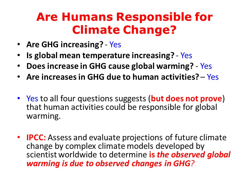 Are Humans Responsible for Climate Change. Are GHG increasing.