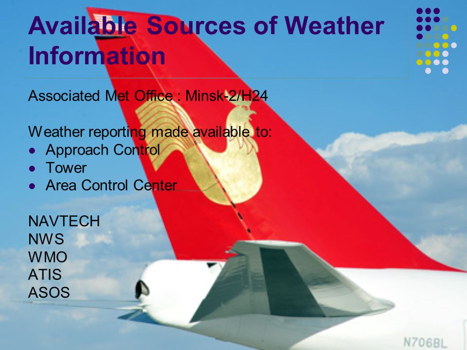 Available Sources of Weather Information Associated Met Office : Minsk-2/H24 Weather reporting made available to: Approach Control Tower Area Control