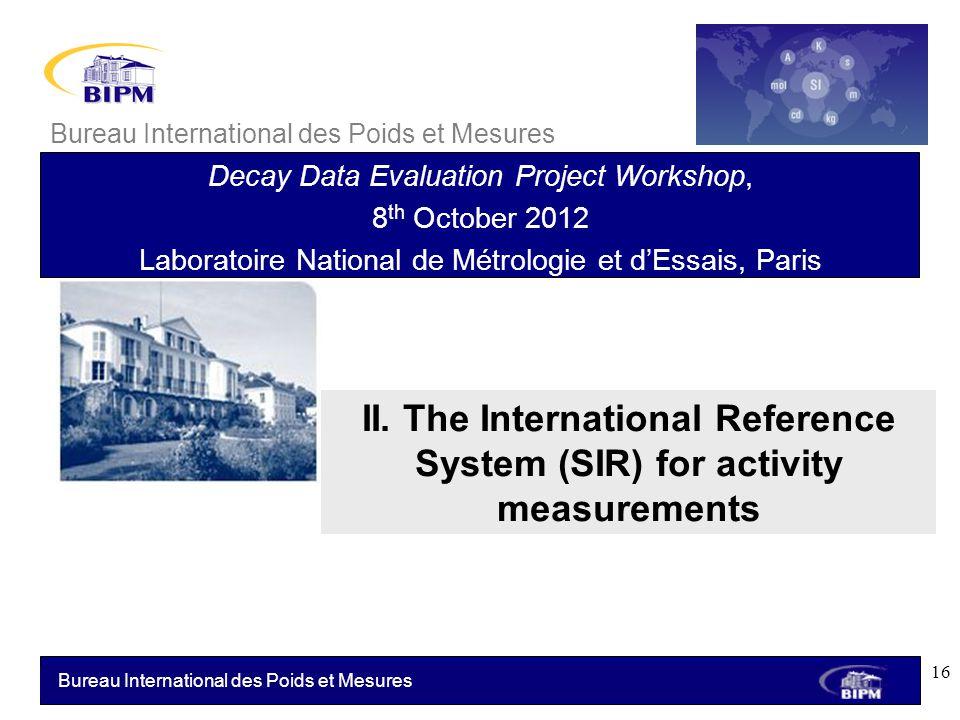 Bureau International des Poids et Mesures II. The International Reference System (SIR) for activity measurements Bureau International des Poids et Mes