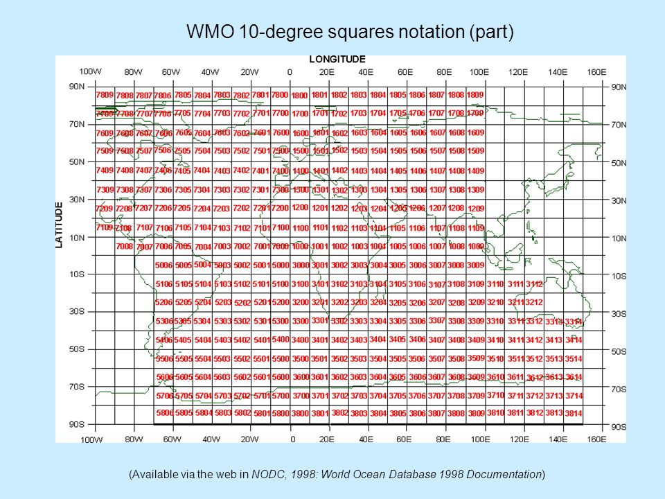 WMO 10-degree squares notation (part) (Available via the web in NODC, 1998: World Ocean Database 1998 Documentation)
