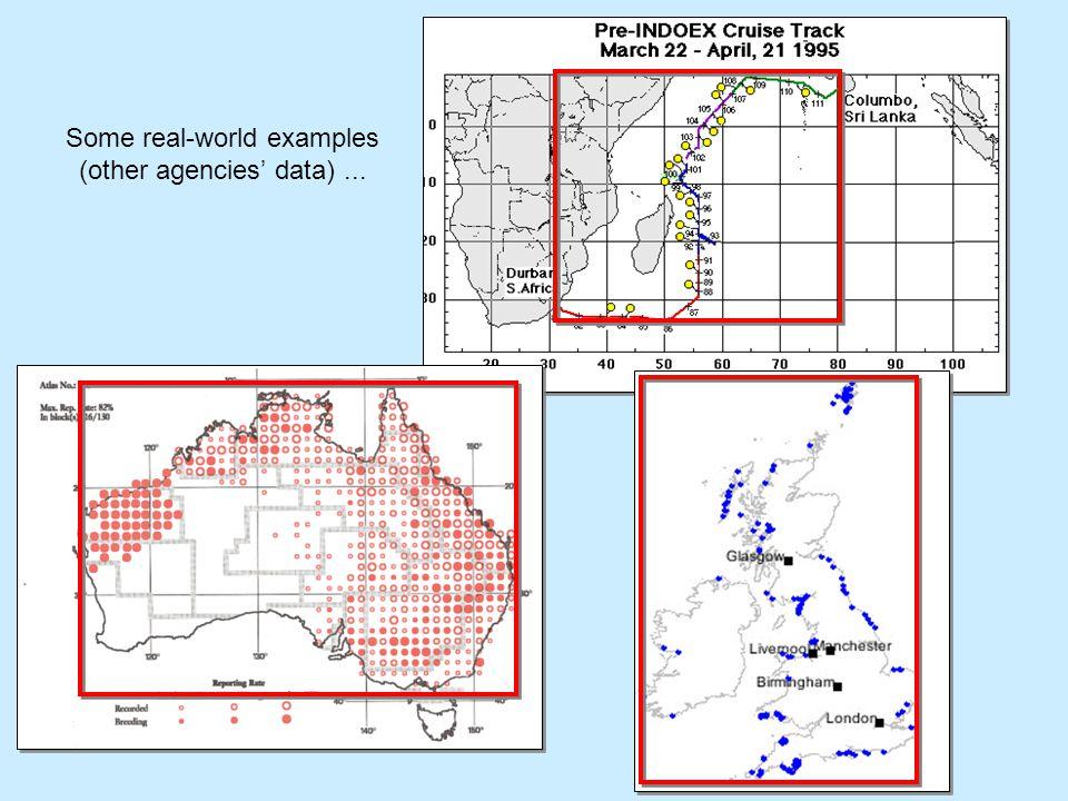 our agency's data (marine surveys) - examples...