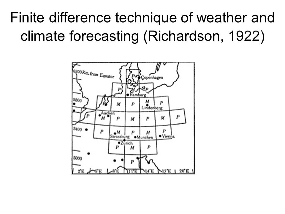 Finite difference technique of weather and climate forecasting (Richardson, 1922)